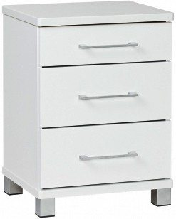 Arctic 3 drawer white bedside table