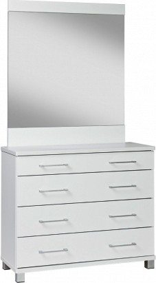 Arctic 4 drawer white dresser